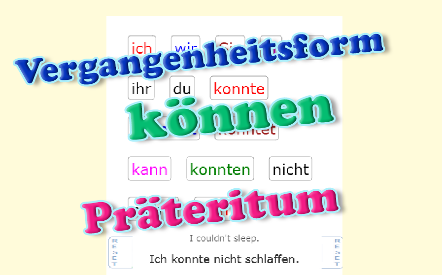 Verb KÖNNEN - Past Tense<br>(20 exercises)