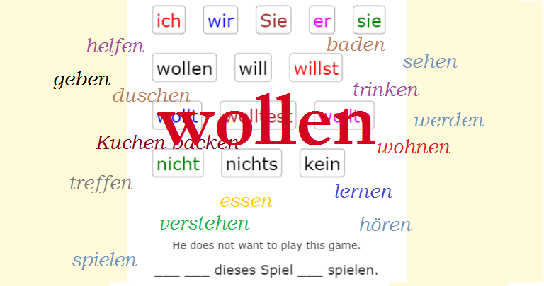 Verb WOLLEN with most frequent verbs<br>(20 exercises)