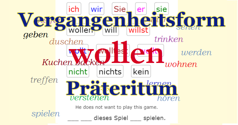 Verb WOLLEN Past Tense<br>(20 exercises)