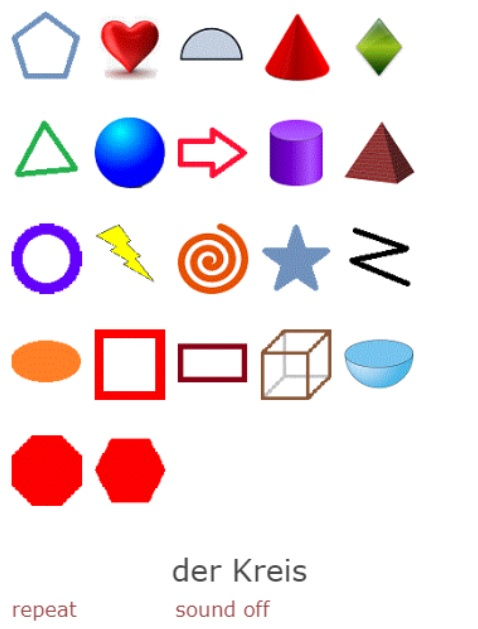 Names of Shapes in German<br>(22 exercises)