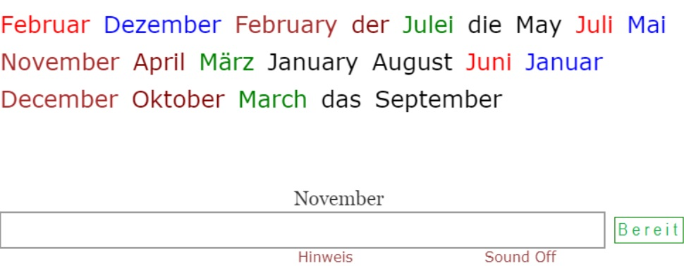 Names of Months in German<br>(24 exercises)