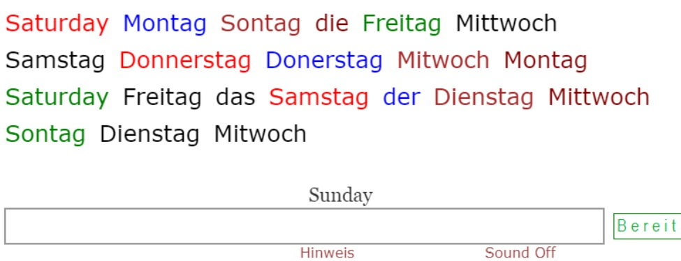 Names of Weekdays in German<br>(21 exercises)