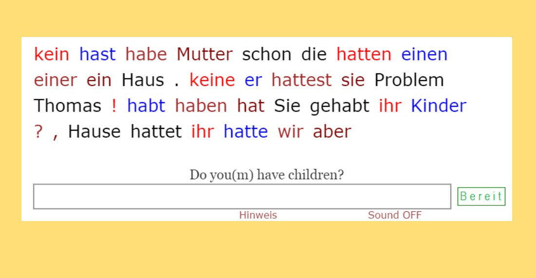 Verb HABEN - General<br>(20 sentences)