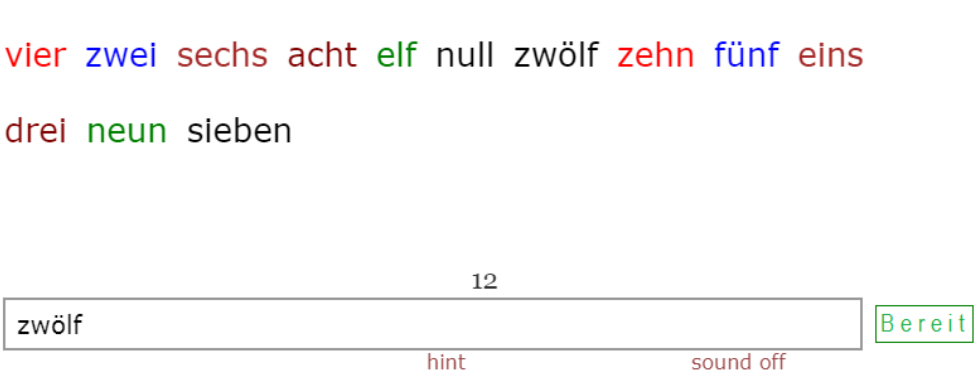 German Numbers<br>1 - 12